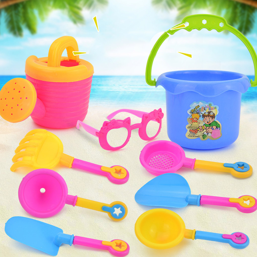 9PCS/Set Kids Beach Sand Game Toys Kit Shovels Rakes Kids Beach Pretend Role Play Toy Kit Holiday Birthday Good Gift