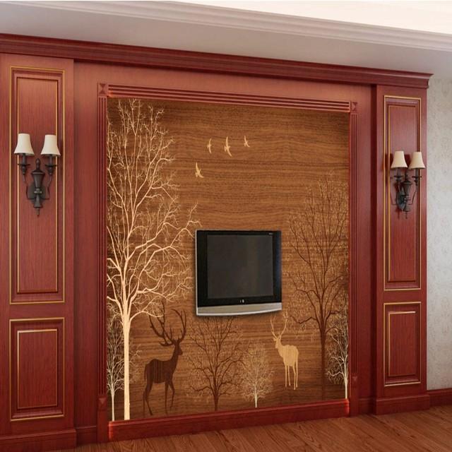 fototapete 3d stereo tapete holz hintergrund baum hirsch wohnzimmer tapete kundenspezifische. Black Bedroom Furniture Sets. Home Design Ideas