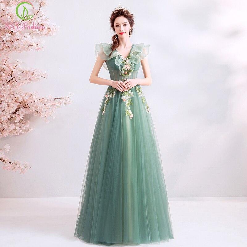 52fca4313e SSYFashion New Long Prom Dress Fresh Green V-neck Lace Flower Floor-length  Evening