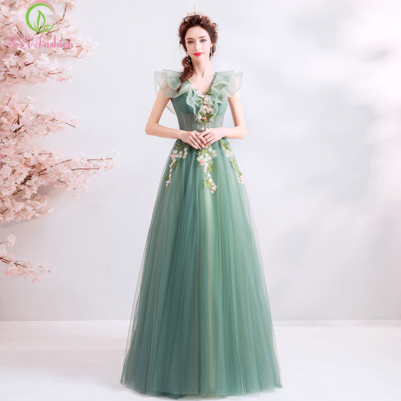 SSYFashion New Long   Prom     Dress   Fresh Green V-neck Lace Flower Floor-length Evening Party Formal Gowns Vestido De Fiesta