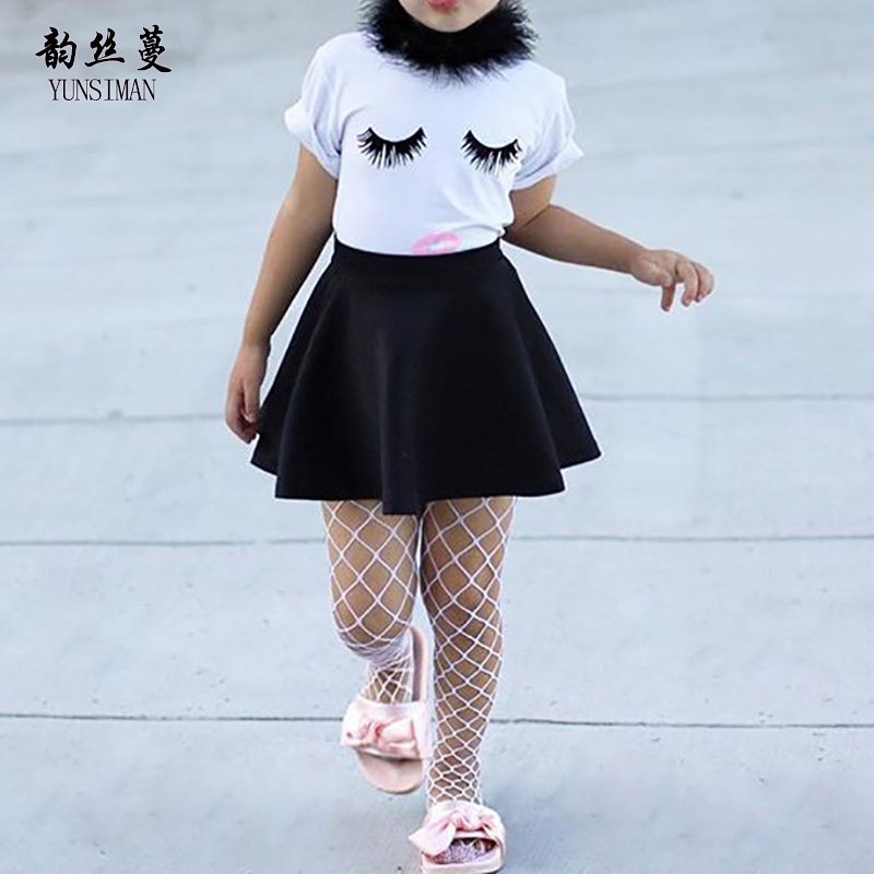 2018 Summer Baby Girls Clothing Suit 2 3 4 5 6 7 Years Toddle Childrens Clothes Set White Cartoon Black Skirt Suits Girl 44C1
