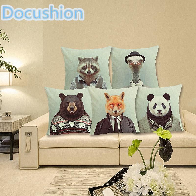 Lovely Cartoon Animal stampato Cuscino Decorativo per la casa Cuscino Divano Sedile Decor Almofadas Federa Cojines