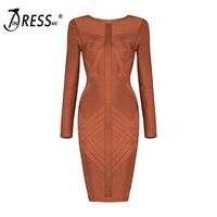 INDRESSME Fashion Striped Autumn Women Bandage Dress Sexy O Neck Knee Length Full Sleeve Women Dress