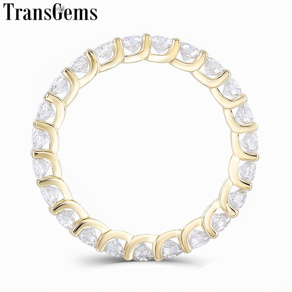 TransGem 14K 585 Yellow Gold 2 8mm Moissnaite Eternity Wedding Band