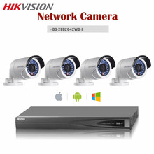 Hikvision 4CH Onvif CCTV NVR 4MP IR IP POE Camera DS-2CD2042WD-I Support Alarm Audio Outdoor Bullet Camera Surveillance System