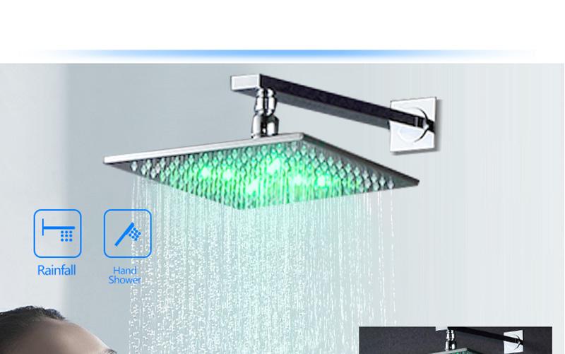 DCAN 10 Rainfall Shower Head System Polished Chrome Bath Wall Mounted Shower Faucet Bathroom Luxury Rain Mixer Shower Combo Set (21)