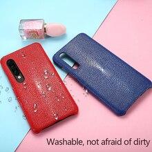 Caso de couro de Arraia Natural Para Samsung nota 10Pro Luxo anti queda tampa traseira Para Samsung A70 S10 Verdadeiro fishskin estojo de couro