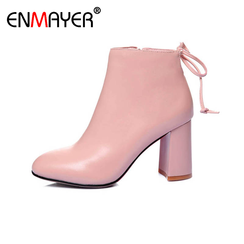 ФОТО ENMAYER Chunky Heels High Heels Zip Round Toe Platform Sweet Pink Party Shoes Women Hot Fashion Spring/Autumn Women Ankle Boots