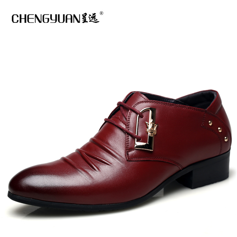 ФОТО CHENGYUAN 2017 British men's leather shoes metal rivets locomotive shades of casual  shoes gentleman wedding shoes 38-43