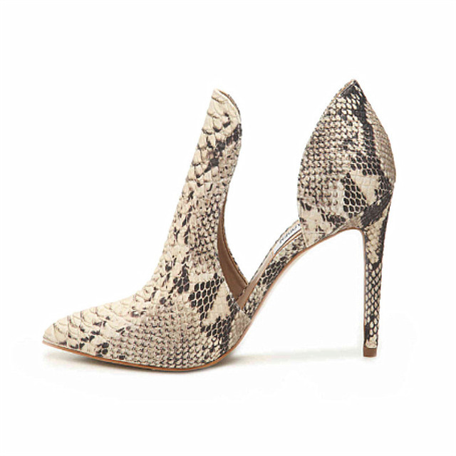 2019 Snake Prints Stylish Women High Heels Pumps Pointed Toe Sexy Side Hollow Ladies Party Shoes Spring Slip-On Stilettos Pumps 1