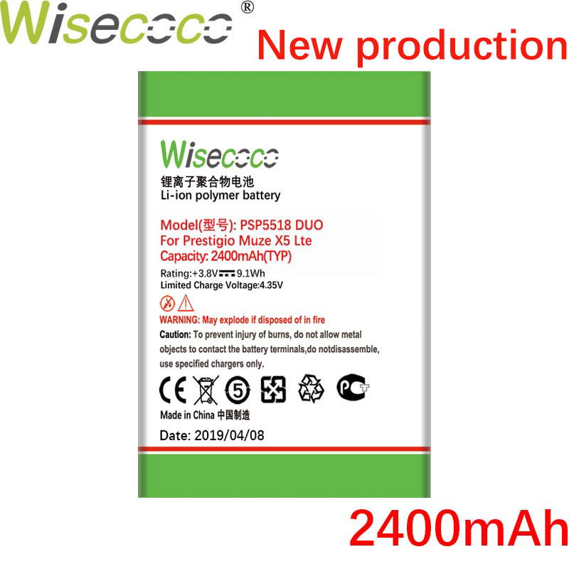 Wisecoco PSP5518 DUO 2400mah NEW Battery For Prestigio Muze X5 Lte Psp 5518 DUO Phone High Quality Battery+Tracking Code