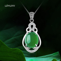 925 الاسترليني والفضة والمجوهرات الإناث الطبيعية شبه الكريمة العقيق الأخضر قلادة مجوهرات قلادة جوفاء الرجعية الأزياء