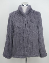 S1526 New 2016 Real rabbit fur jacket thick knitted women winter warm coat Top quality Wholesale / Retail