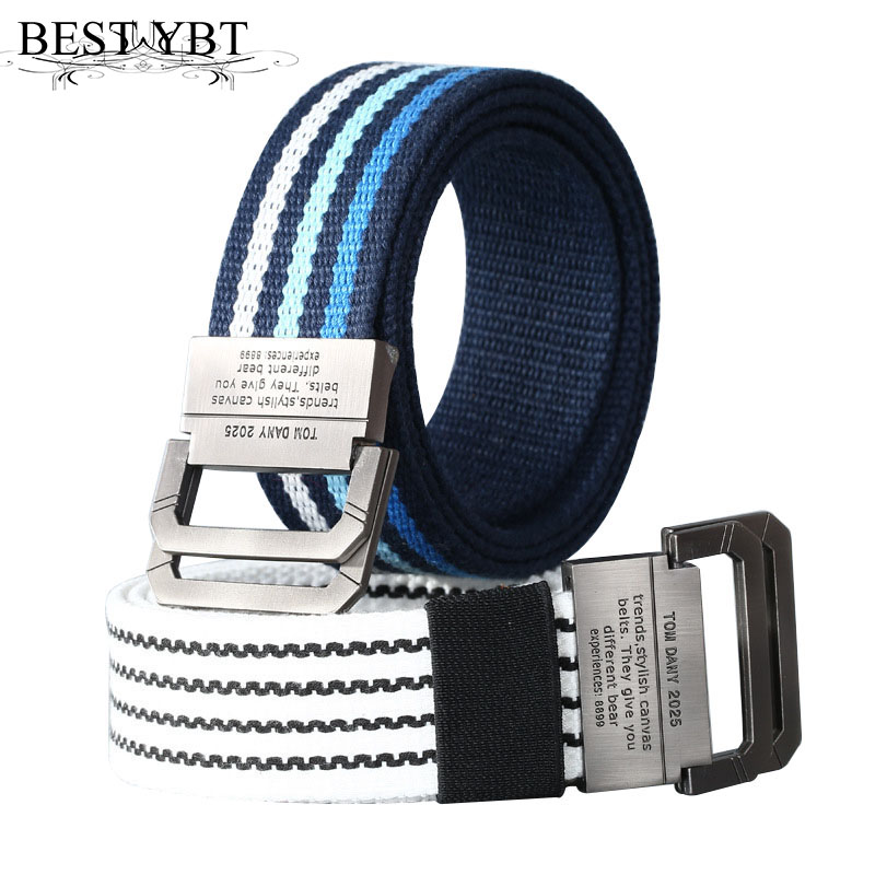 Best YBT Unisex Canvas belt Alloy double ring buckle Canvas stripe men belt casual sport cowboy men belt Lengthen 105-140 cm