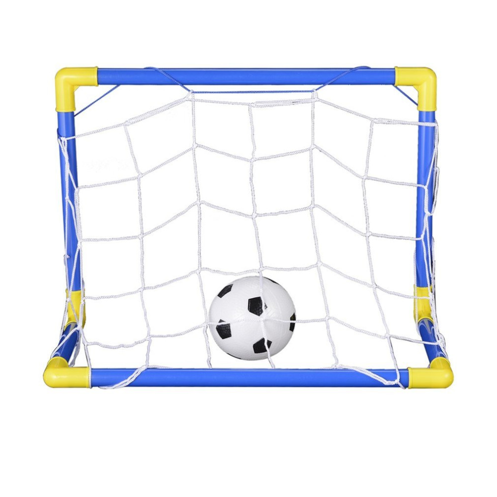 Folding Mini Football Soccer Ball Goal Post Net Set + Pump Kids Sport Indoor Outdoor Games Toys Child Birthday Gift Plastic