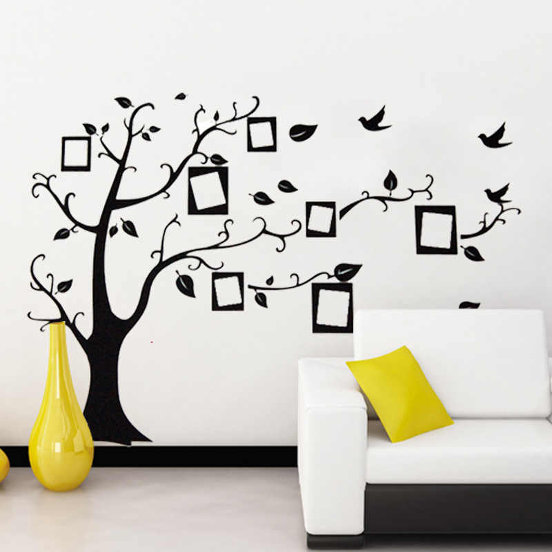 70*120Cm Black 3D DIY Photo Tree PVC Wall Decals/Adhesive Family Wall  Stickers Mural Art Home Decor Free Shipping