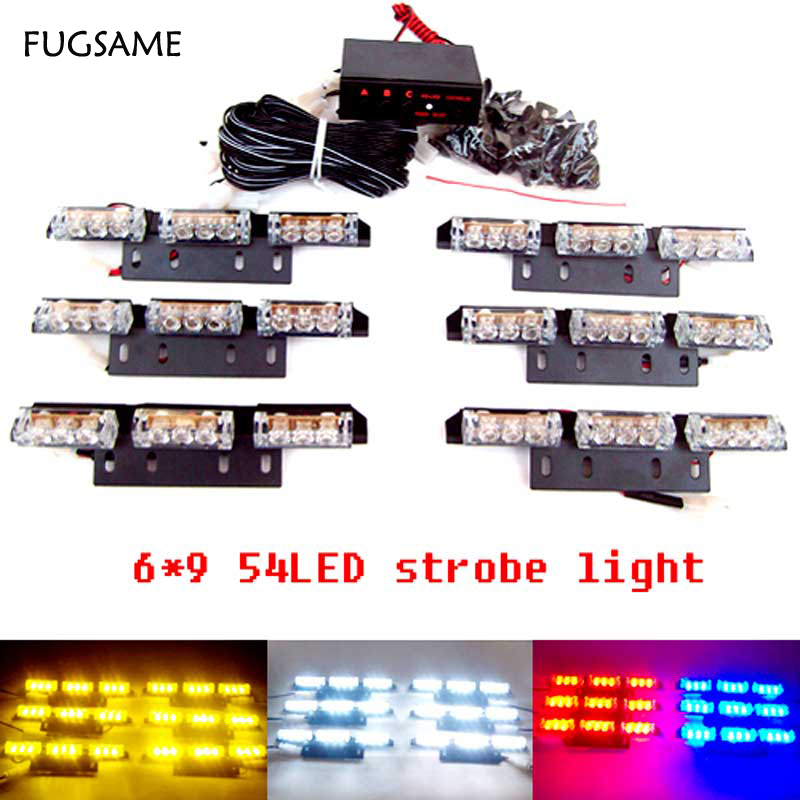 цены FUGSAME Car 6*9 54 LED warning lights Flash Light.Police Light   Flashing Emergency Firemen Lamp 3 Mode 12V. Red + blue   light