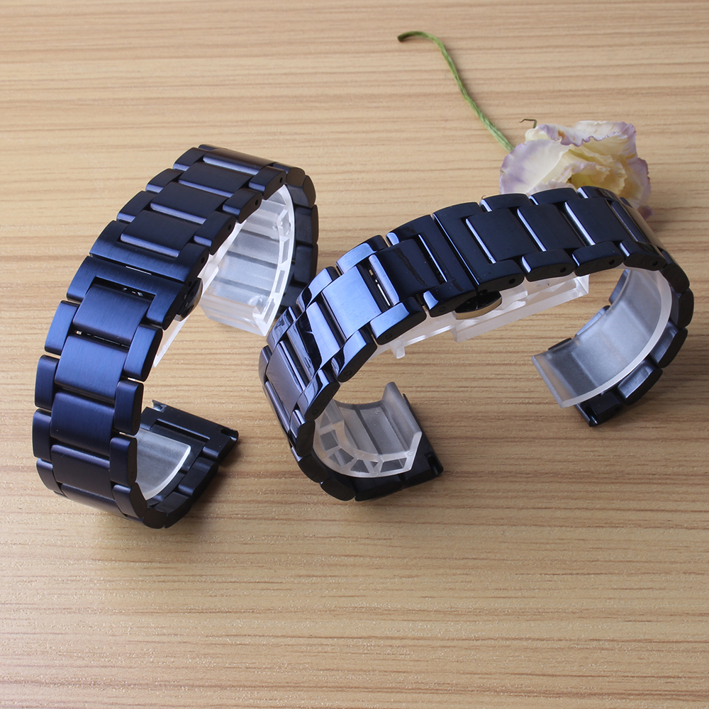 20mm Men Lady Solid Steel Watch Band Strap Belt Bracelet blue stainless steel fit Samsung Gear S4  Watchbands Double Push Clasps samsung gear fit в казани