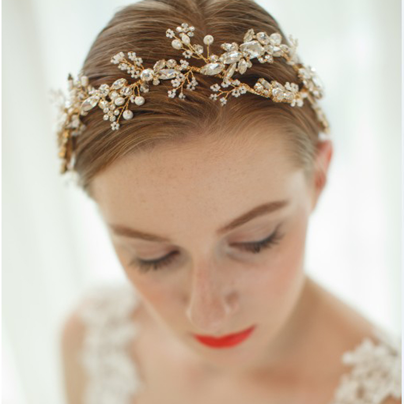 Wedding Hairstyles With Hair Jewelry: Luxury Bridal Headband Wedding Tiara Crystal Handmade
