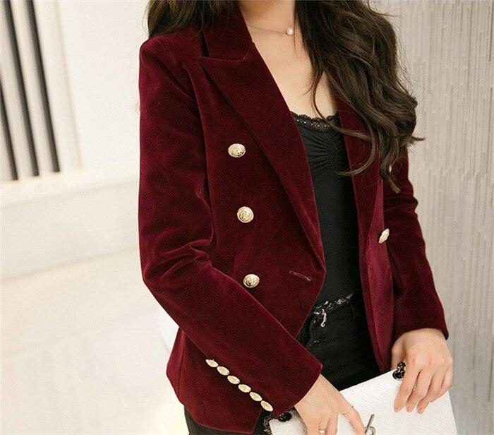 2016 New Spring Fashion Women Midnight Navy Slim Velvet Blazer Jacket Double Breasted simple Lady Blazers  (17)