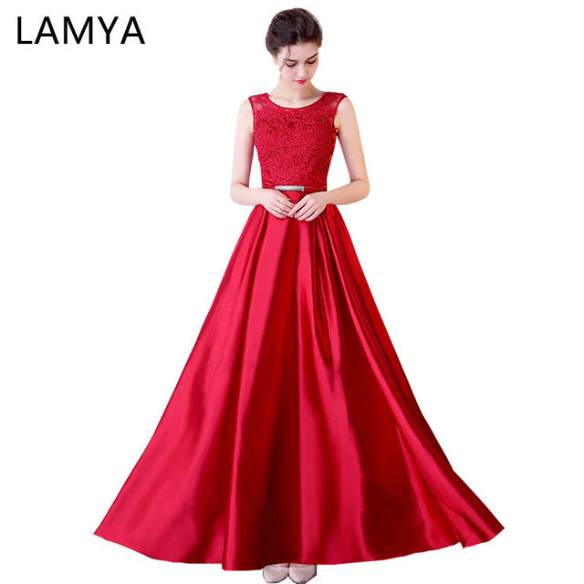 Online Shop Lamya 2018 Long Satin A Line Evening Dresses For