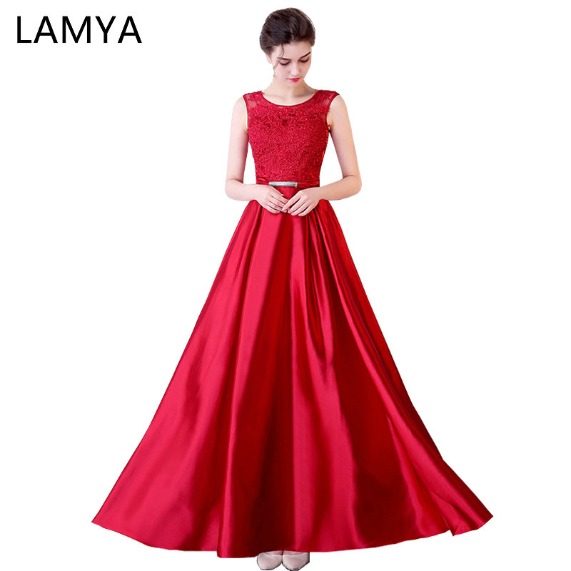 LAMYA 2019 Long Satin A Line   Evening     Dresses   For Pregnant Vintage Plus Size Prom Party Gowns Red Lace Formal Gown Robe De Soire