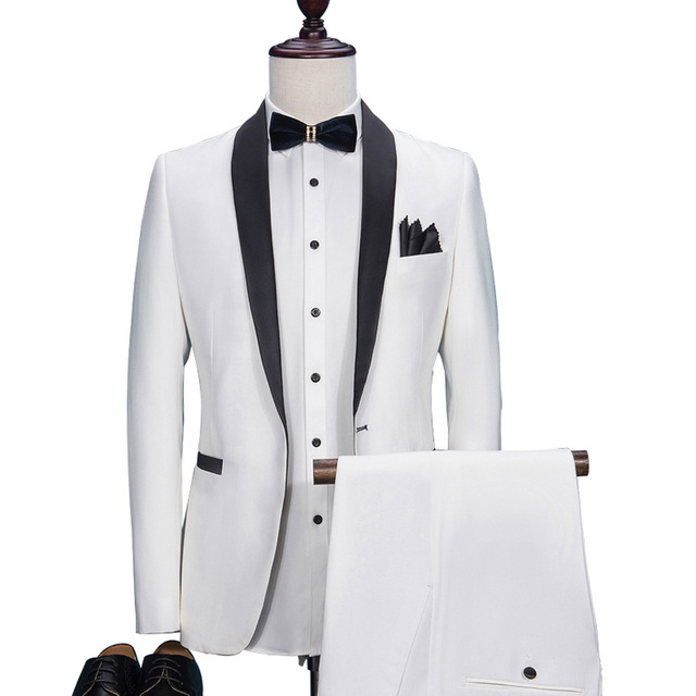 High End 2019 White Men Suits Custom Made Wedding Suit For Men Party Business Texedos Blazers Slim Fit Ternos Jacket Pants Suit