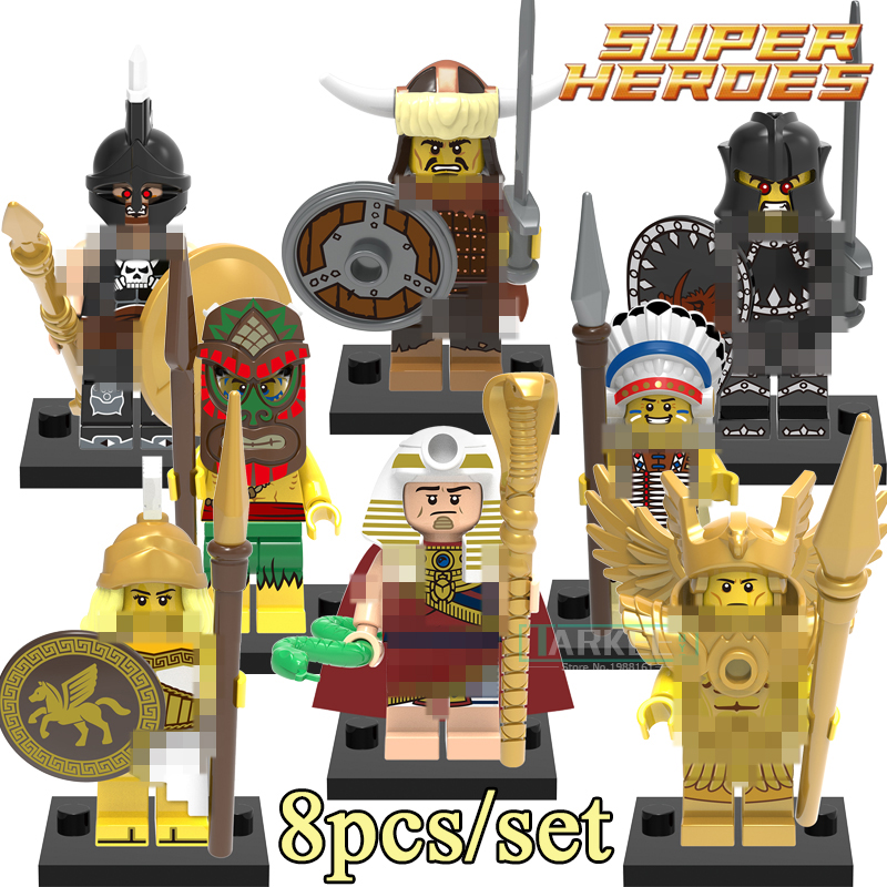 8pcs/set Building Blocks X0163 Chief Aborigines Hun Warrior Saint Seiya Super Heroes Star Wars Bricks Kid DIY Toys QUEST Figures