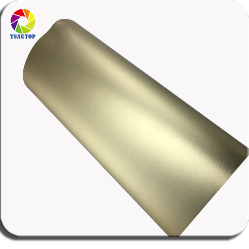 TSAUTOP Premium 1 52m width matte chrome vinyl wrap matte stain Champagne gold car wrapping foil