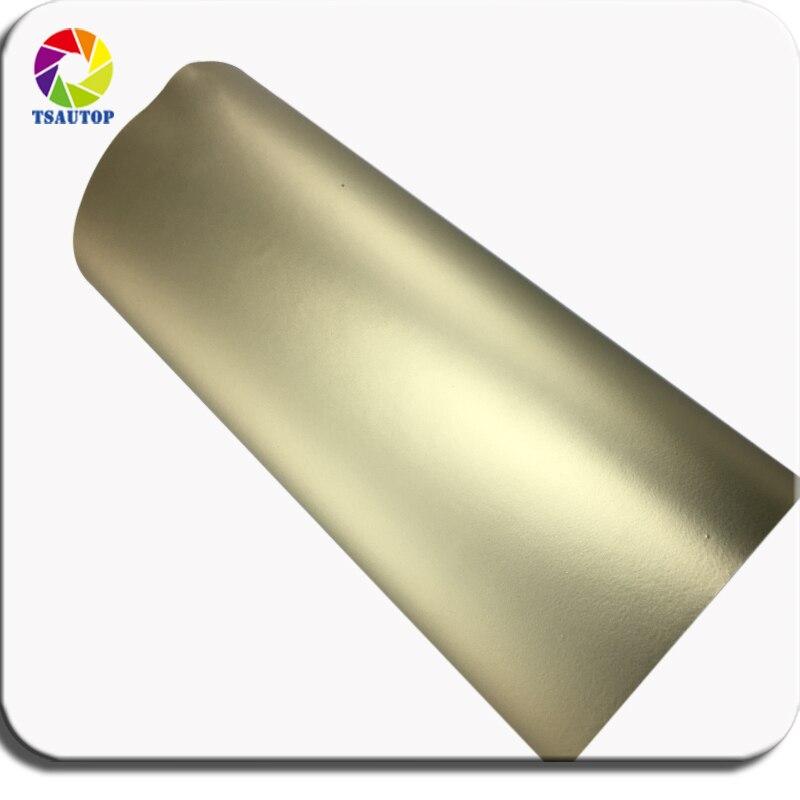 TSAUTOP Premium 1.52m width matte chrome vinyl wrap matte stain Champagne gold car wrapping foil air free bubbles