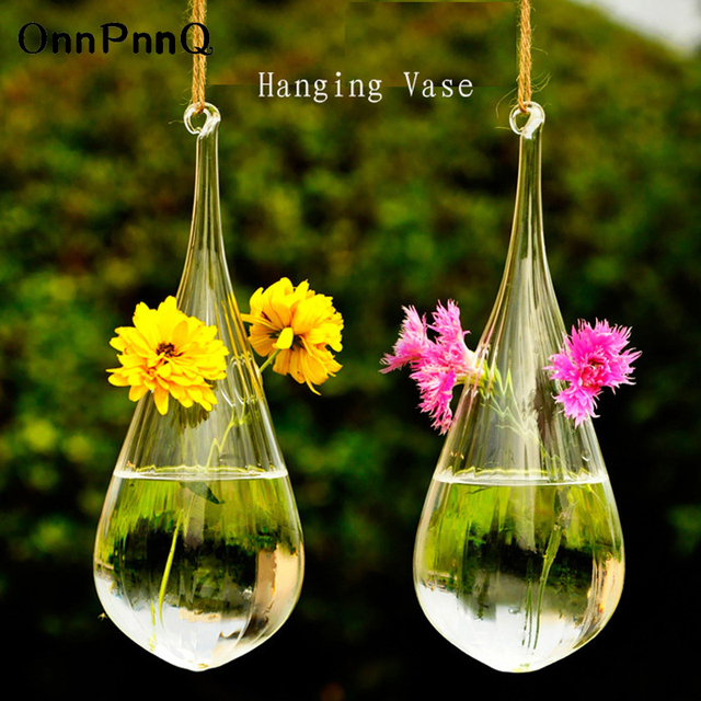 Onnpnnq 2pcsset Clear Glass Decorative Hanging Vases Diy Plant