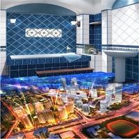 Beibehang Customize Any Size Mural Metropolitan 3D Floor Living Room Bedroom Thickened Tiles Wallpaper For Walls