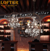 Loft Vintage American Rural Orb Globe crystal ring chandelier Rustic creative clothing store restaurant iron hanging lamp