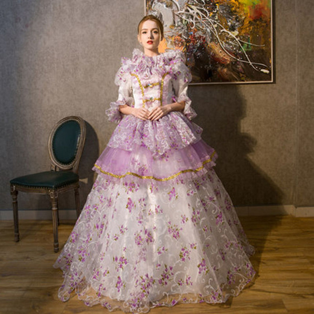 b7f9cb01ccd7 Customized 2018 Retro Green/Purple medieval Marie Antoinette Long Party  Dress Rococo Baroque Ball gowns