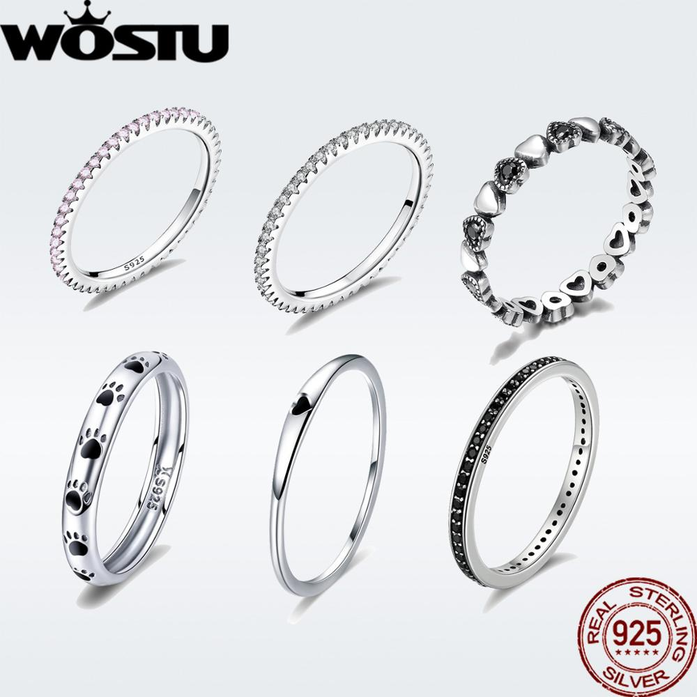 WOSTU Finger-Rings Stackable Geometric Christmas-Gift Women 100%925-Sterling-Silver Single