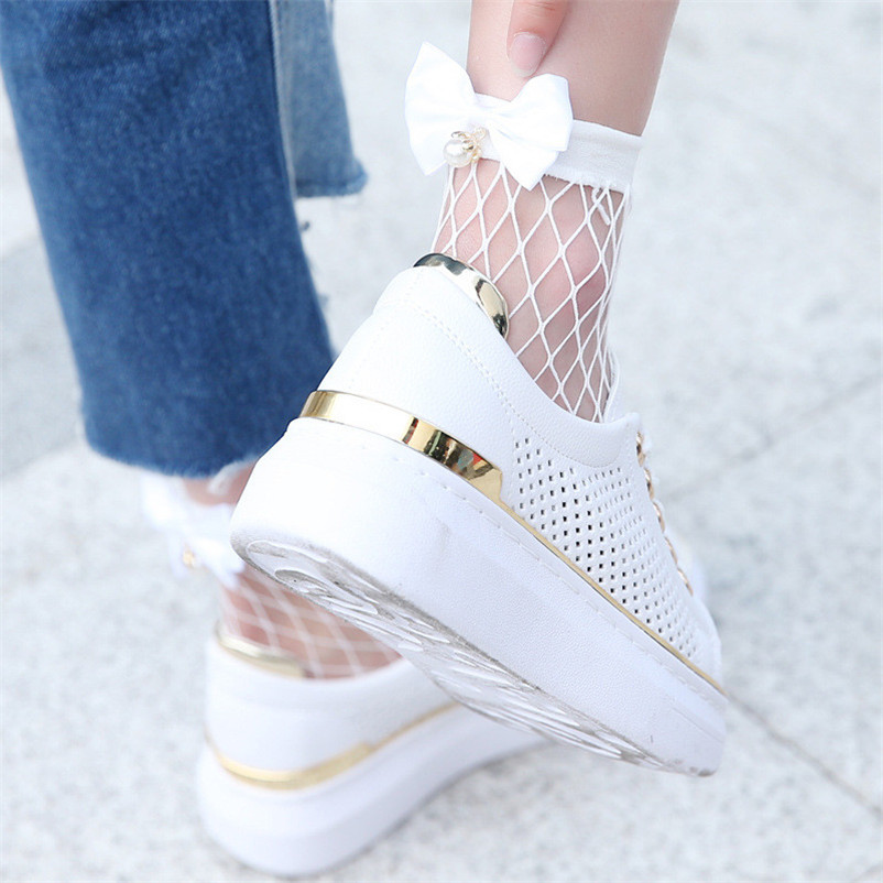 Solid Women Ruffle Fishnet Ankle High Socks Mesh Lace Fish Net Short Socks with Bow in Behind Two Color dropshipping 30AT3 04