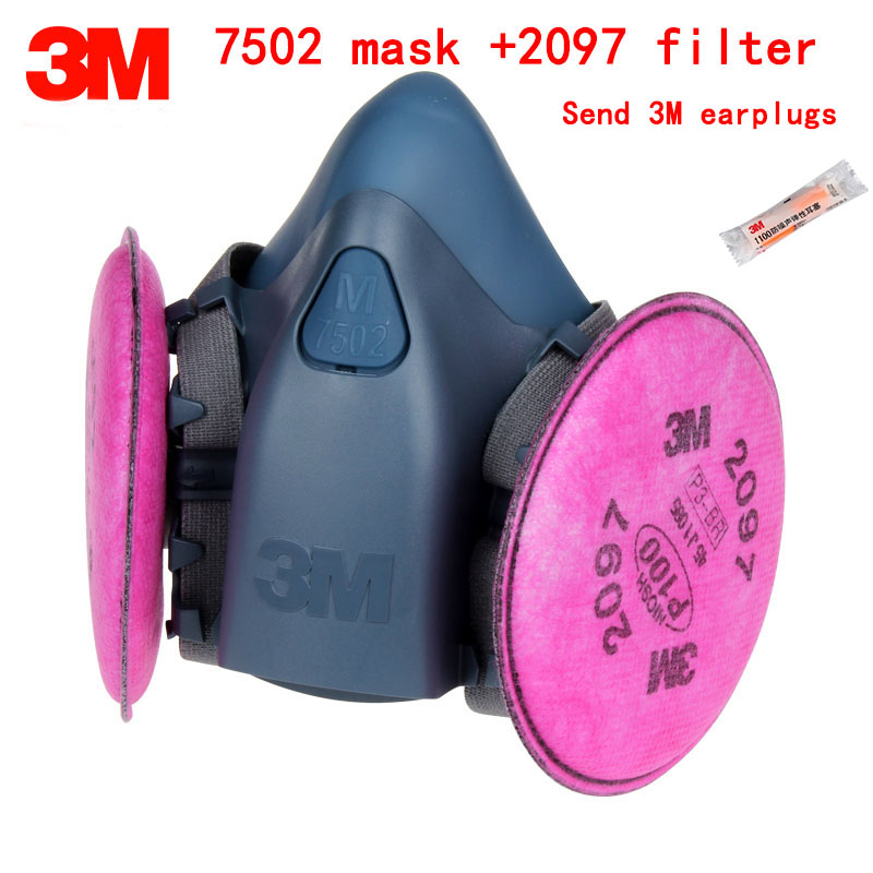3M 7502 mask +2097 filter Genuine high quality respirator face mask Painting Graffiti Polished respirator gas mask 3m 7702 advanced silicone protective mask comfortable type soft respirator mask painting graffiti respirator gas mask