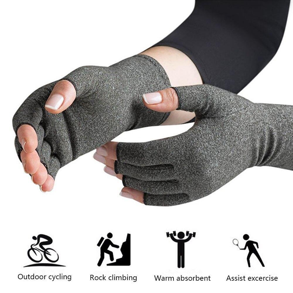 1 Para Damen Herren Baumwolle Therapie Compression Handschuhe Hand Arthritis Gemeinsame Schmerzlinderung Hellgrau Größe S/M/L Tropfen-verschiffen