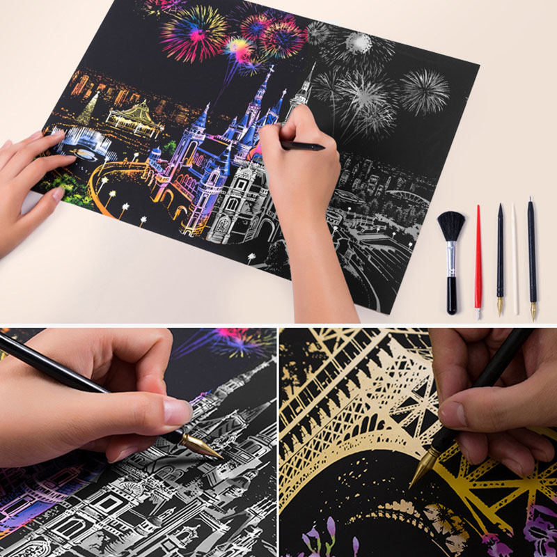 Creative Magic Scratch Art Painting Paper With Drawing Stick kid Education Drawing Toy Decoration Scraping DIY Painting Supplies