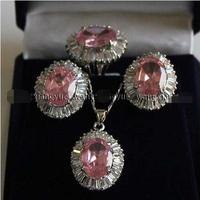 Shipping >>new hot Pink Rose Crystal Link Earrings/Ring/ Necklace Pendant Set AAA