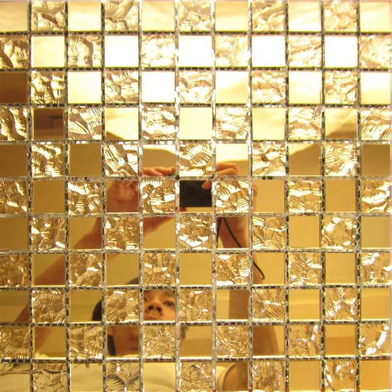 Gold Mirror Glass Tile Home Interior Wall Deco Mesh