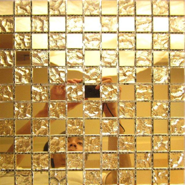 gold mirror glass tile home interior wall deco mesh kitchen