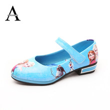 2016 Autumn Children Shoes Girls Anna Princess Leather Shoes Elsa Casual Sneakers Cartoon Flat Girl Shoes Skid Sneakers 26-36