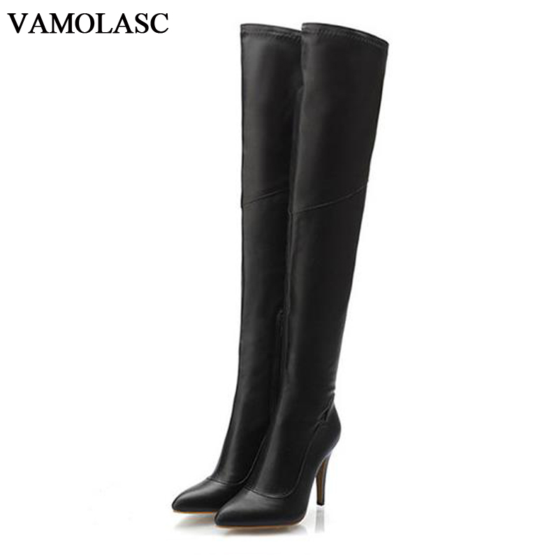 VAMOLASC New Women Autumn Winter Warm Leather Over the Knee Boots Sexy Thin High Heel Boots Zipper Women Shoes Plus Size 34-43 vamolasc new women autumn winter leather over the knee boots sexy lace thin high heel boots platform women shoes plus size 34 43