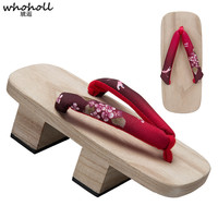 WHOHOLL Summer Sandals Women Wooden Geta Japanese Clogs High heeled Two teeth Clog Floral Paulownia Wooden Slippers for Female