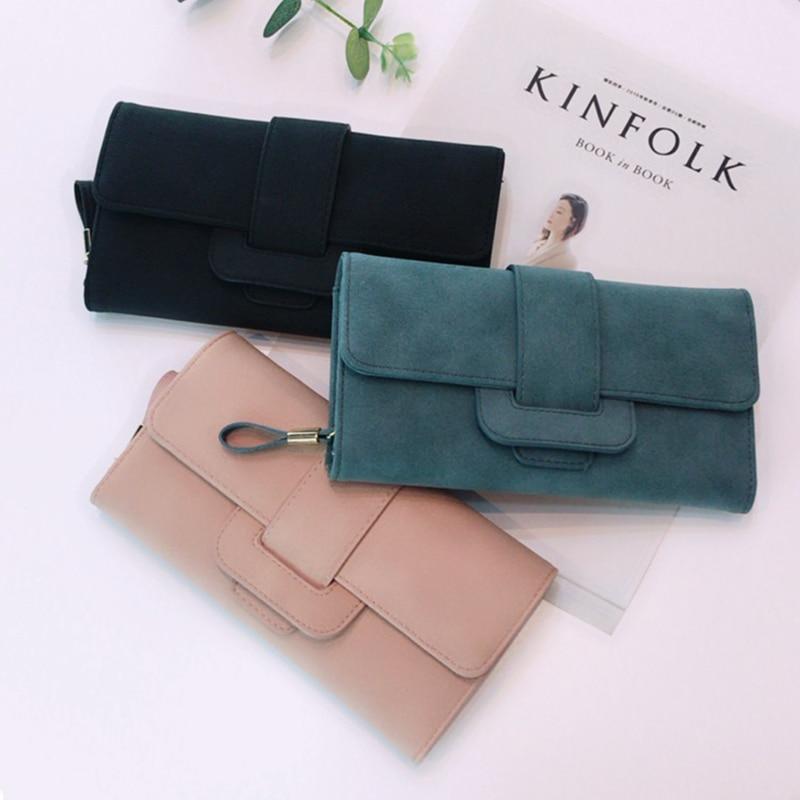 Female 2017 Long Wallet Folding Small Fresh Multi-Card Wallet Multi-Function Buckle Wallet Million Bit Card Package Simple