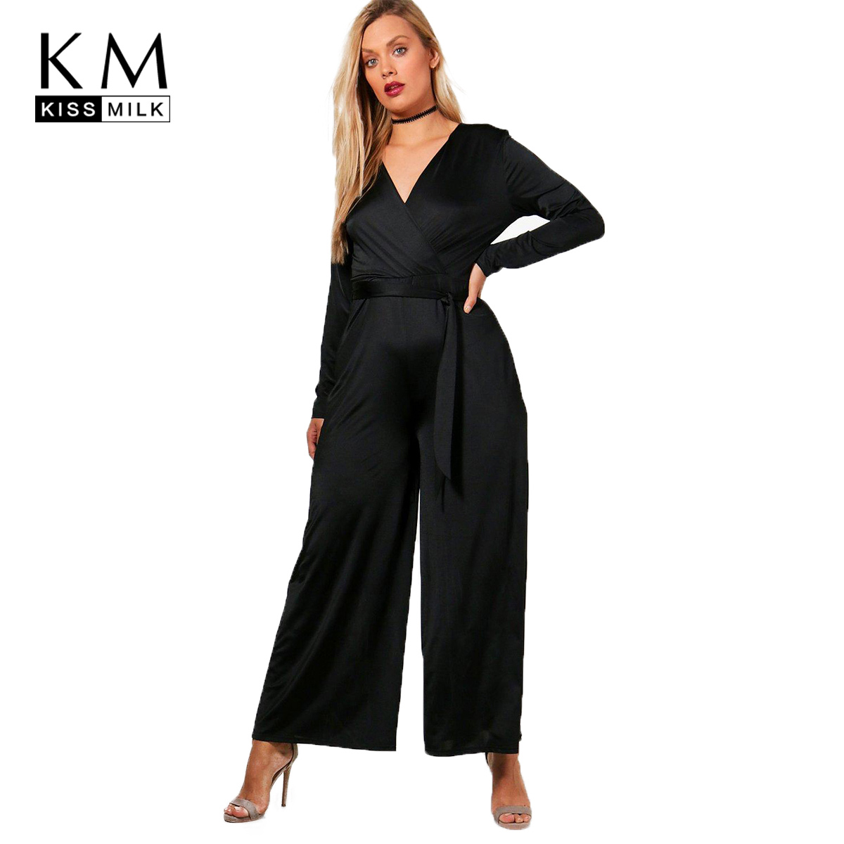 cadf19c68df1 Detail Feedback Questions about kissmilk 2018 Plus Size Sexy Office Lady Women  Jumpsuits V neck Lace Up Straight Female Clothing Solid Black Big Size ...