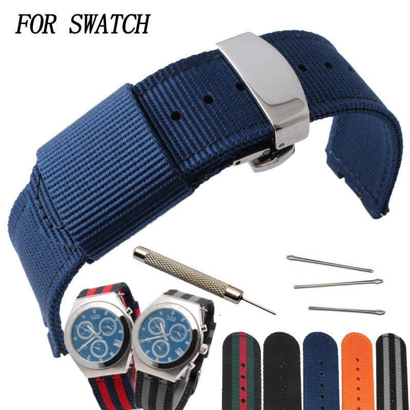 Fashion striped nylon strap 17MM19MM for SWATCH YGS / YAS / YLS / YCS / SUO color sports Watchbands Waterproof and sweat