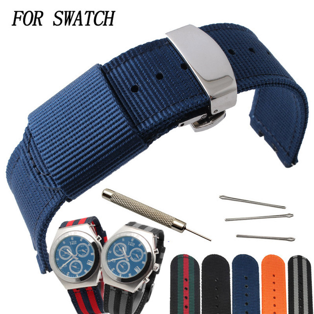 Fashion striped nylon strap 17MM19MM for SWATCH YGS / YAS / YLS / YCS / SUO colo