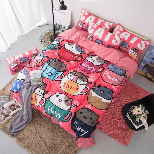 Free shipping Novelty gift cute cats in cups happy shock pattern Quilt Cover with 2 pillowcase set for Twin full Queen King